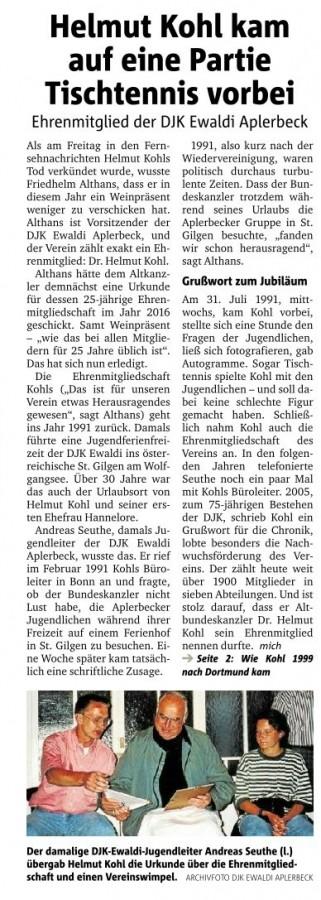 RN 19.06.2017 Tod von Ehrenmitglied Dr. Helmut Kohl